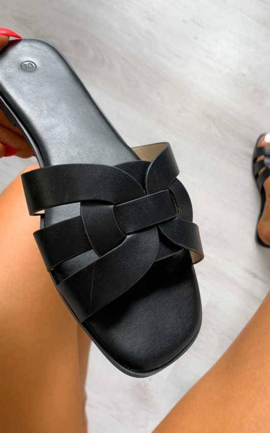 Natalie Faux Leather Slip On Sandals