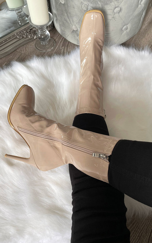 Natalie Square Toe Zip Up Heeled Boots