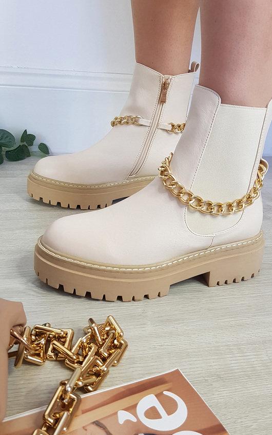 Natasha Chain Detail Chunky Ankle Boots