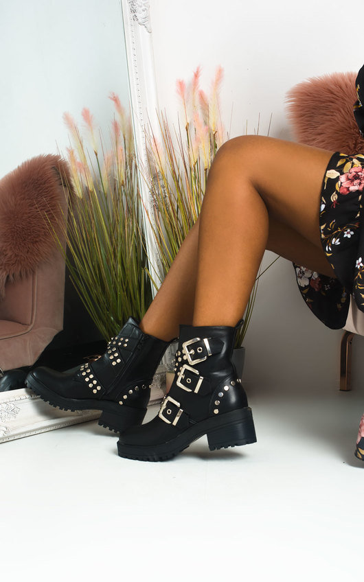 Nealy Buckle Studded Biker Boots