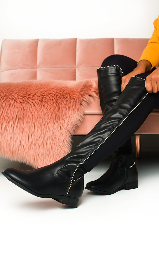 Nelli Faux Leather Studded Knee High Boots