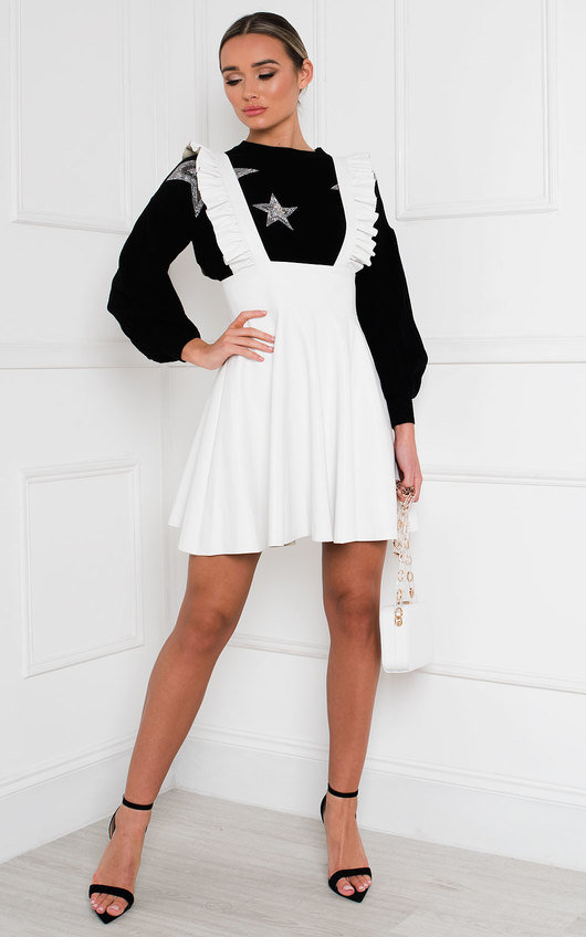 Nellie Faux Leather Pinafore Dress