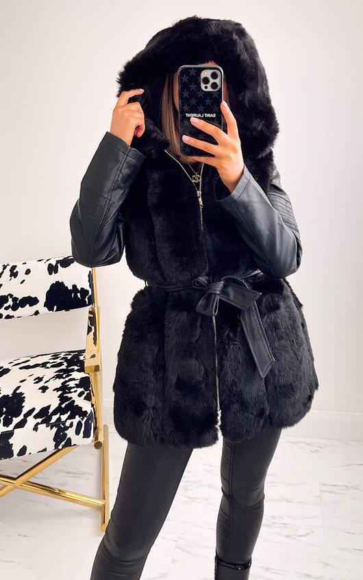 Nelly Faux Fur and Leather Belted Jacket with Hood