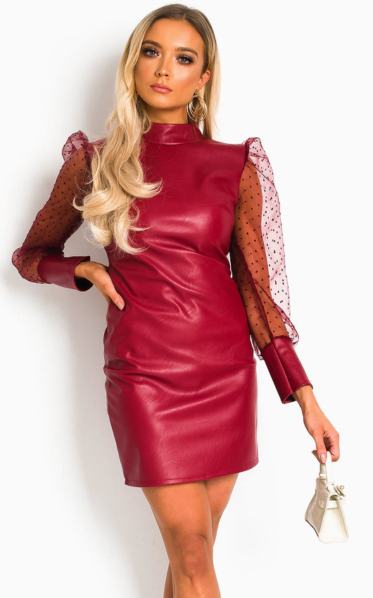 Nelly Faux Leather Mini Dress