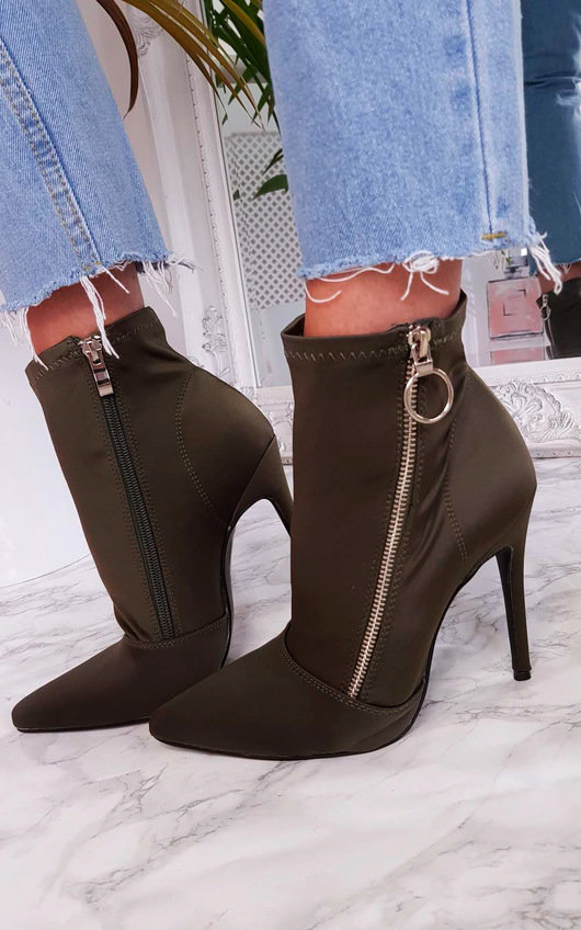 Nelly Lycra Heeled Ankle Boots