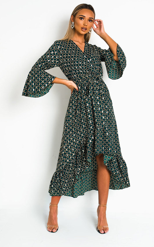 Nelly Printed Frill Maxi Dress
