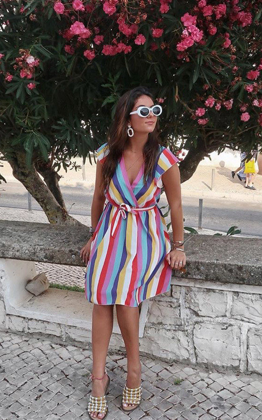 Nessa Frill Striped Dress