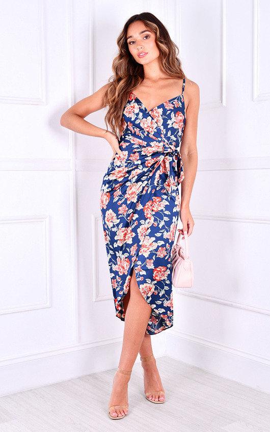 Nevina Printed Wrap Midi Dress
