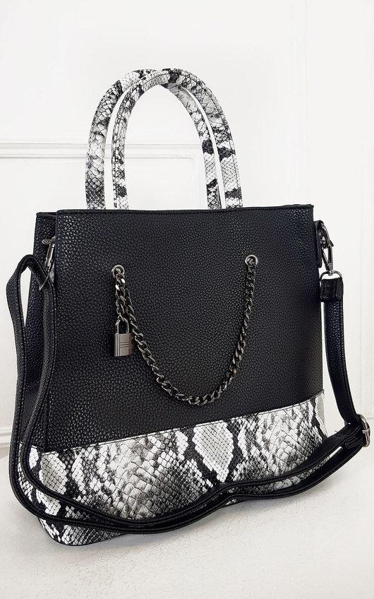 Nia Two Tone Snake Print Handbag