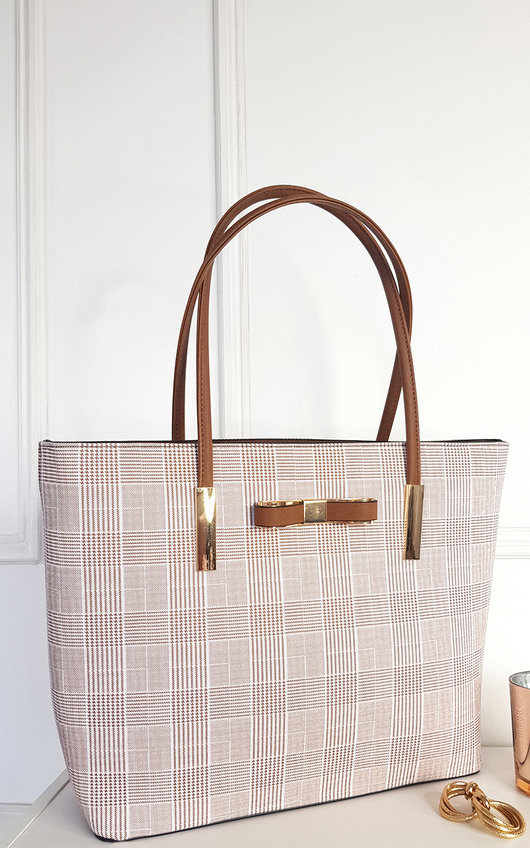 Nicola Check Print Fabric Shoulder Bag with Gold Detail