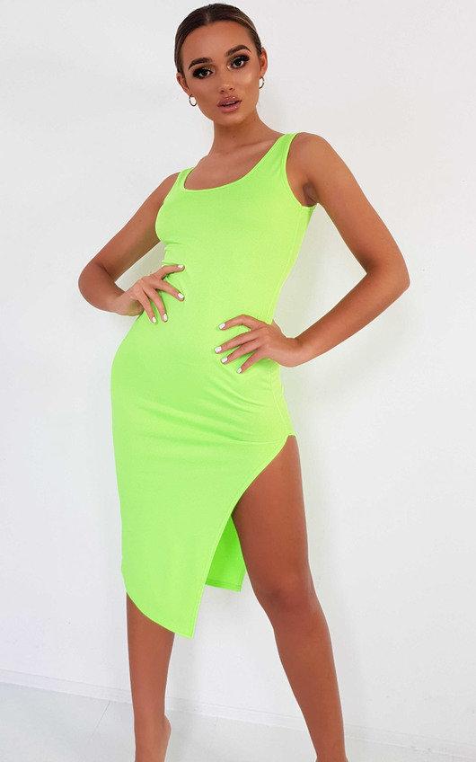 a6e29e01ca60 Nicole Side Split Midi Dress in Neon green | ikrush