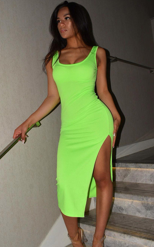 Nicole Side Split Midi Dress
