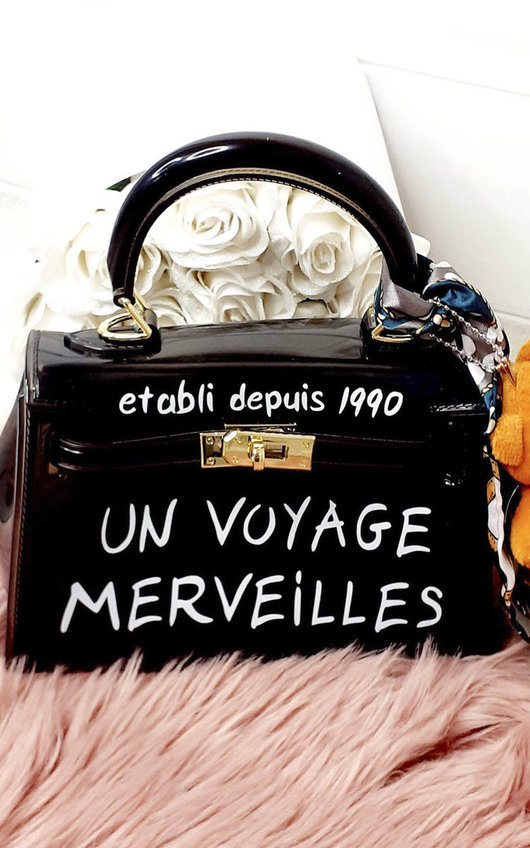 Niena Clear Slogan Handbag