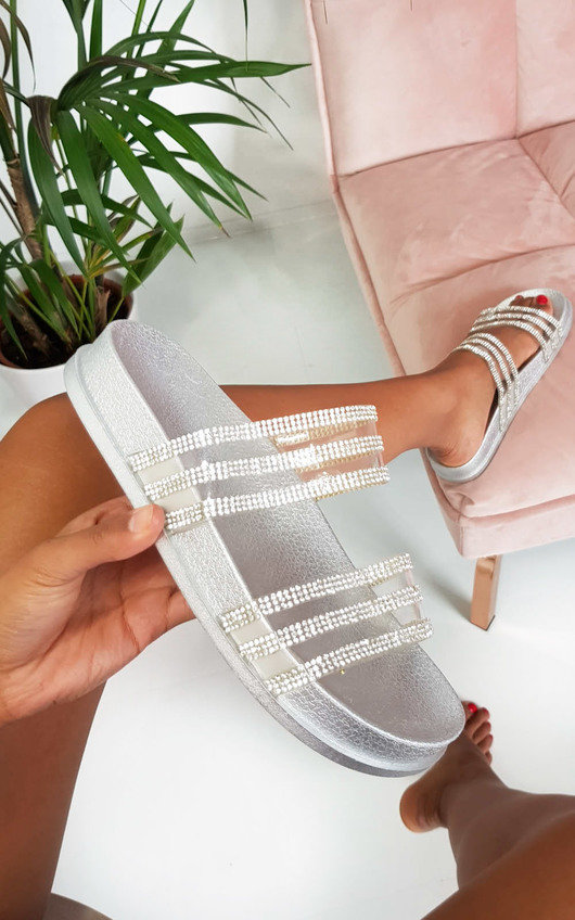 Nika Double Strap Diamante Sliders