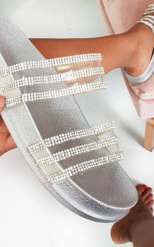 Nika Double Strap Diamante Sliders