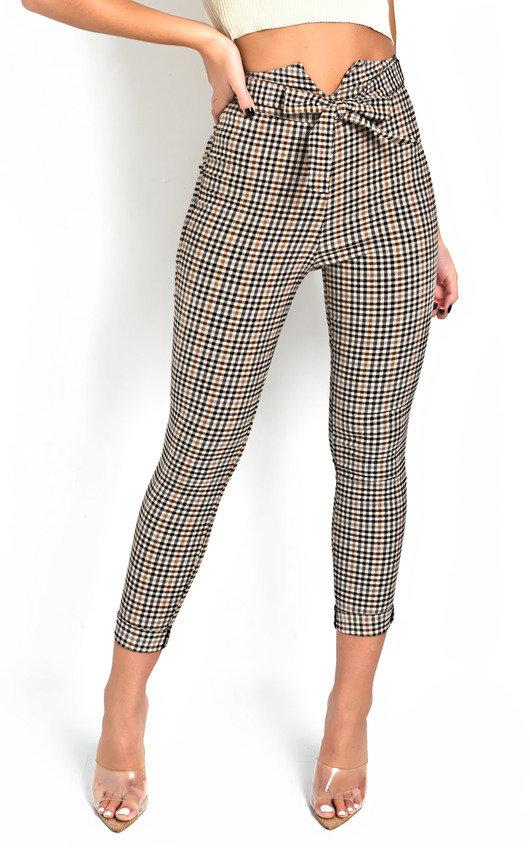 Nika High Waist Checked Trousers