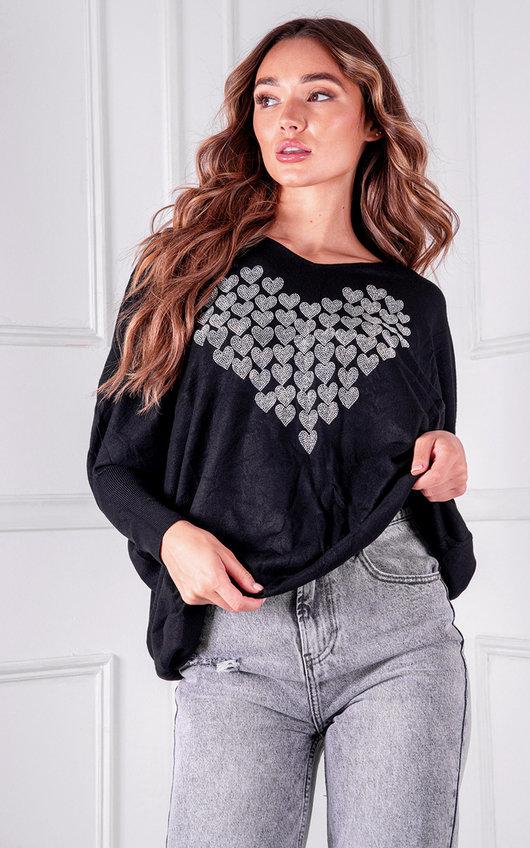 Nikay Heart Diamante Knitted Jumper