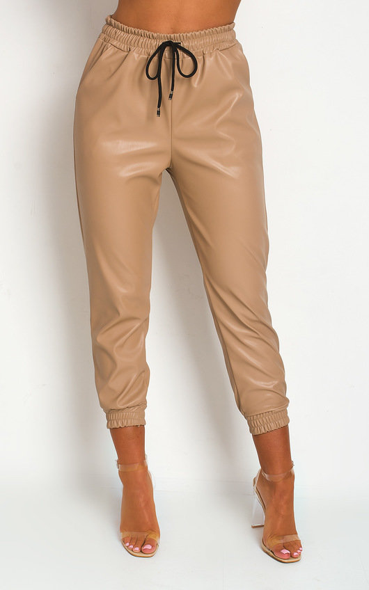 Nikki Faux Leather Casual Joggers