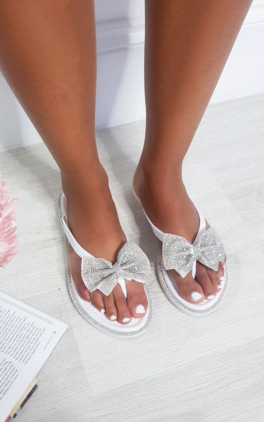 Nina Diamante Bow Flip Flop Sandals