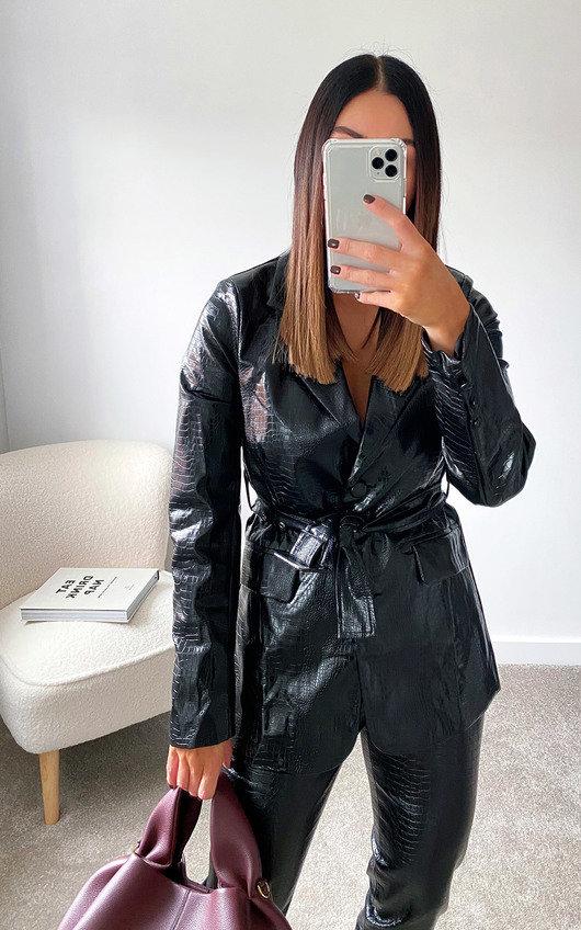 Nina Faux Leather Blazer Jacket