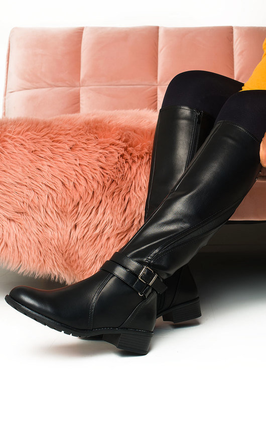 Nina Faux Leather Buckle Knee High Boots