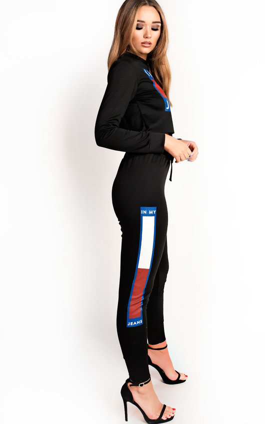 Nina Slim Fit Cropped Slogan Tracksuit