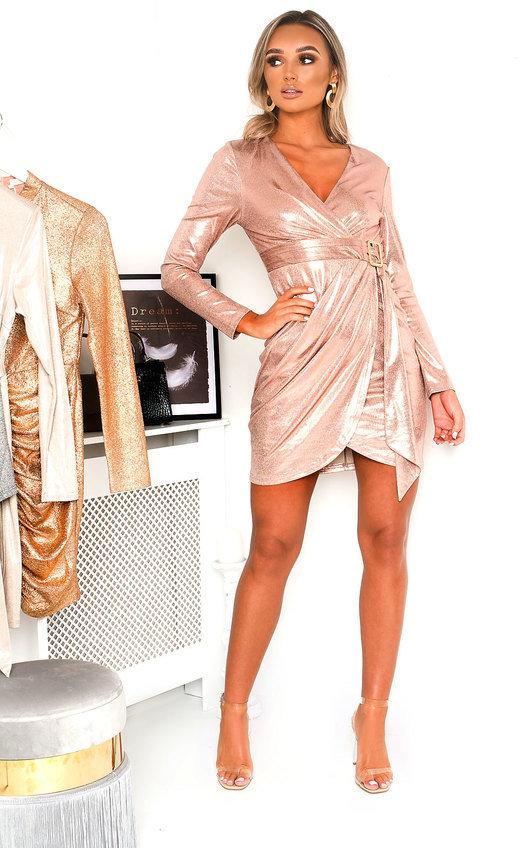 Nina Snake Print Metallic Mini Dress