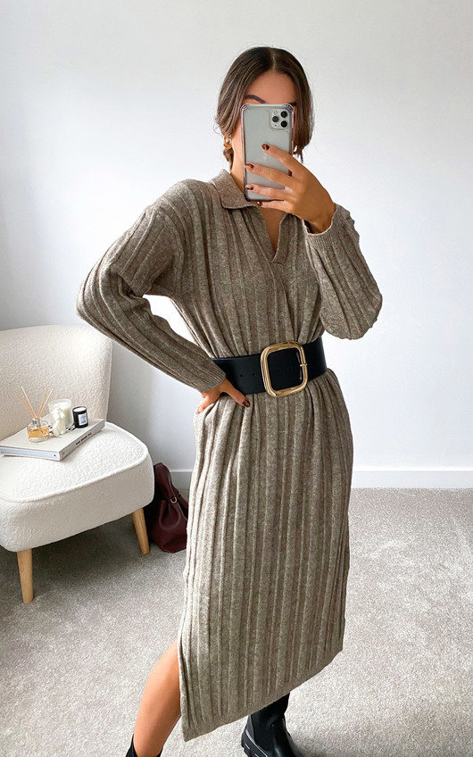 Noelle Collared Knitted Midi Dress
