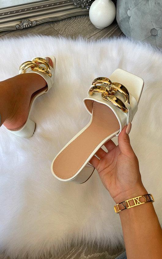 Noora Slip On Chain Detail Block Heel