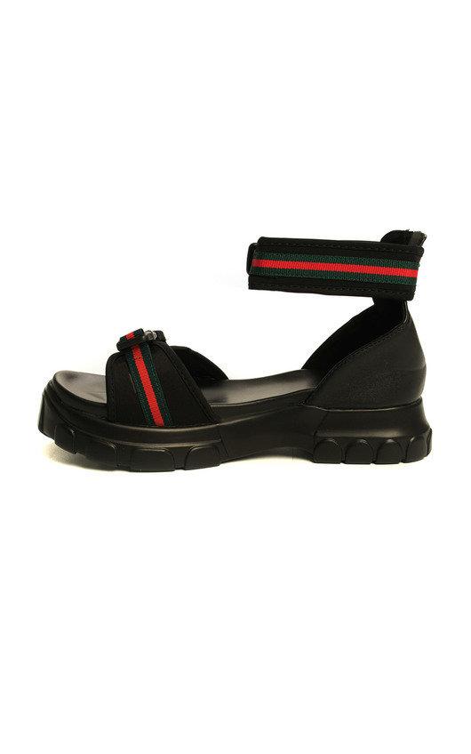5206265ee Nova Double Buckle Sport Chunky Sandals in Black lycra