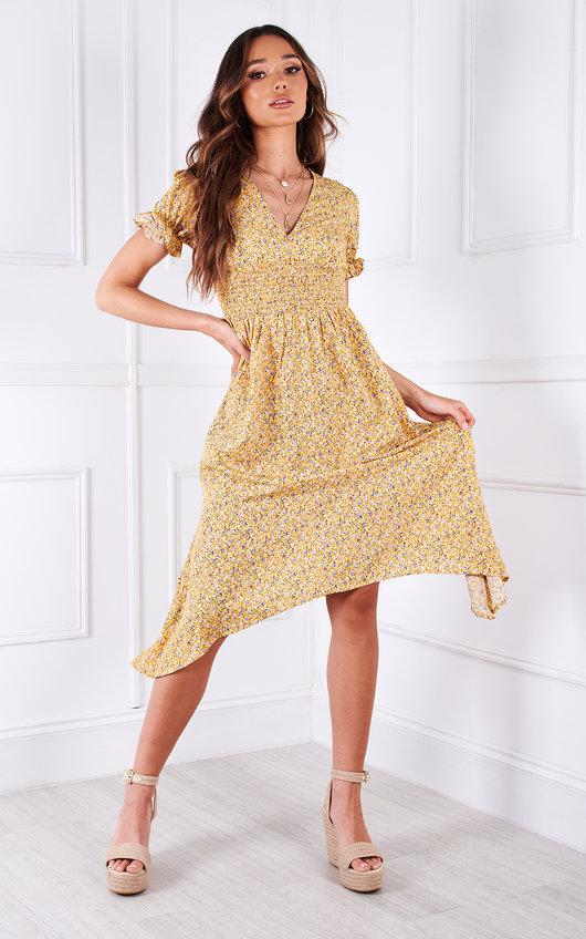 Nova V Neck Puff Sleeve Floral Midi Dress