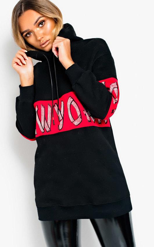 NY New York Embellished Hooded Jumper