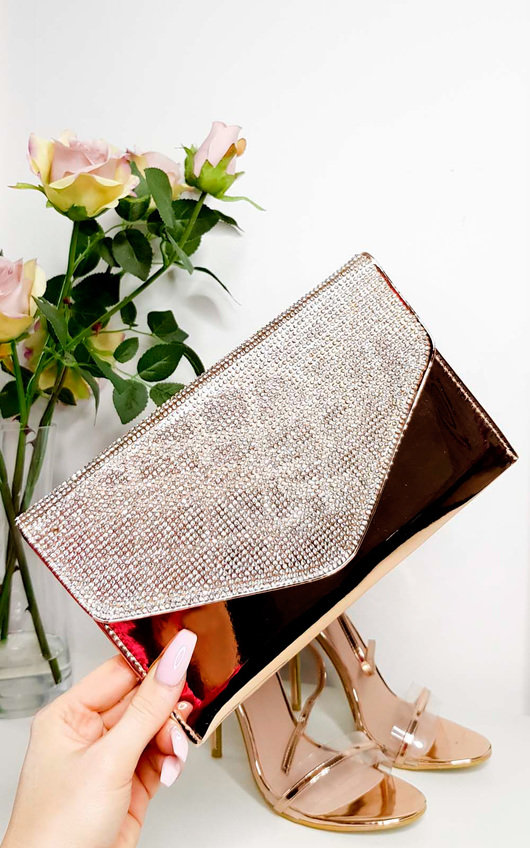 Olivia Diamante Embellished Metallic Clutch Bag