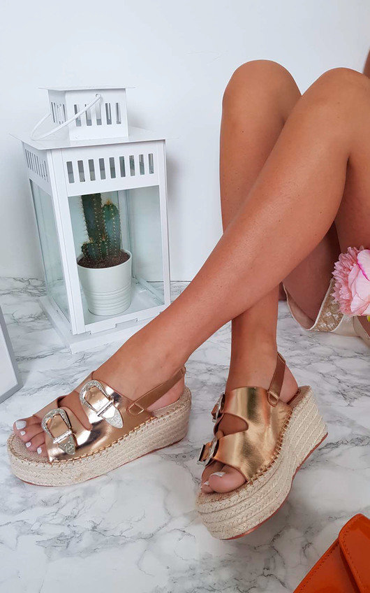 Olivia Double Buckle Wedged Sandals