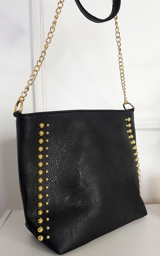 Olivia Faux Leather Studded Bag with Gold Chain Detail