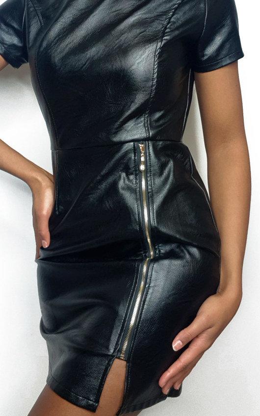 Ona Faux Leather Mini Dress