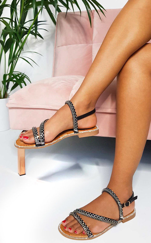 Onyx Diamante Embellished Strappy Sandals