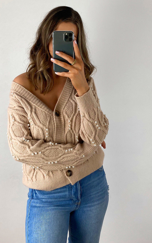 Opal Pearl Embellished Knitted Cardigan