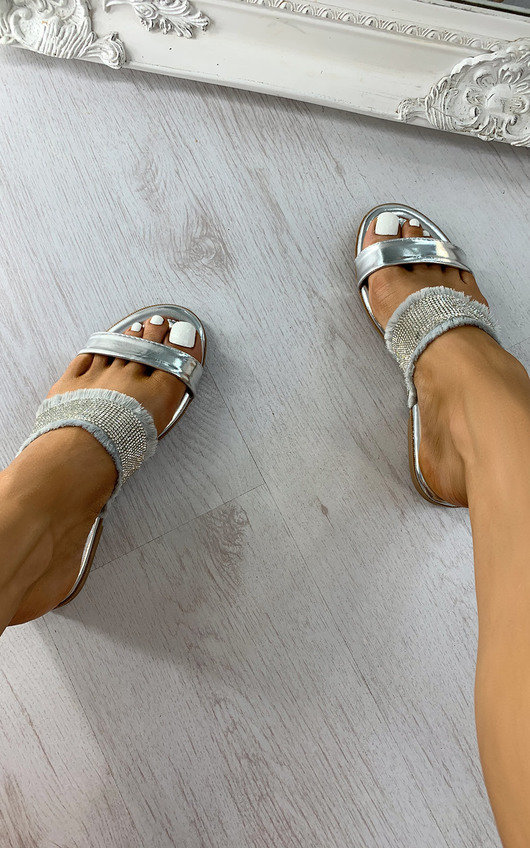 Orla Diamante Metallic Slip On Sandals
