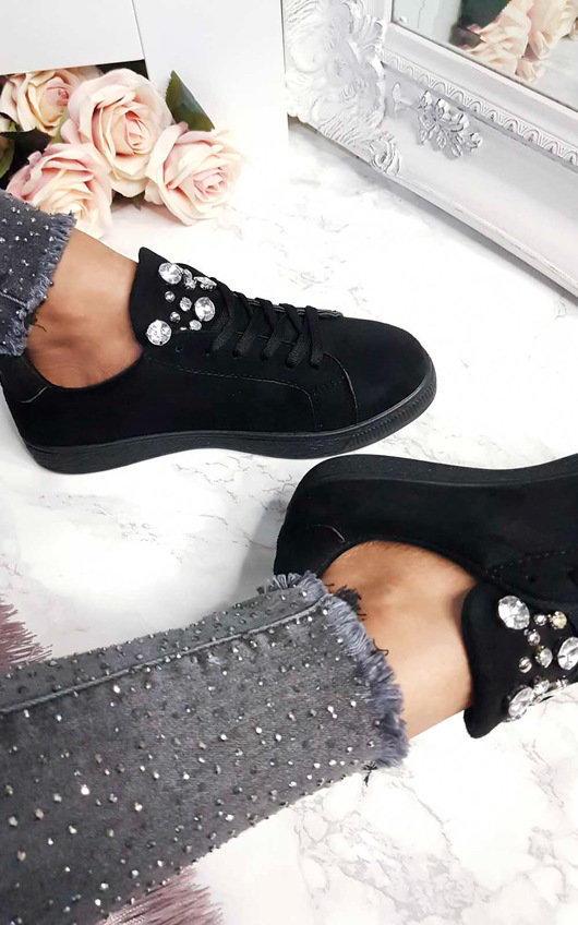 Orla Faux Suede Embellished Trainers