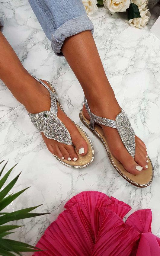 Orlagh Diamante Embellished Sandals