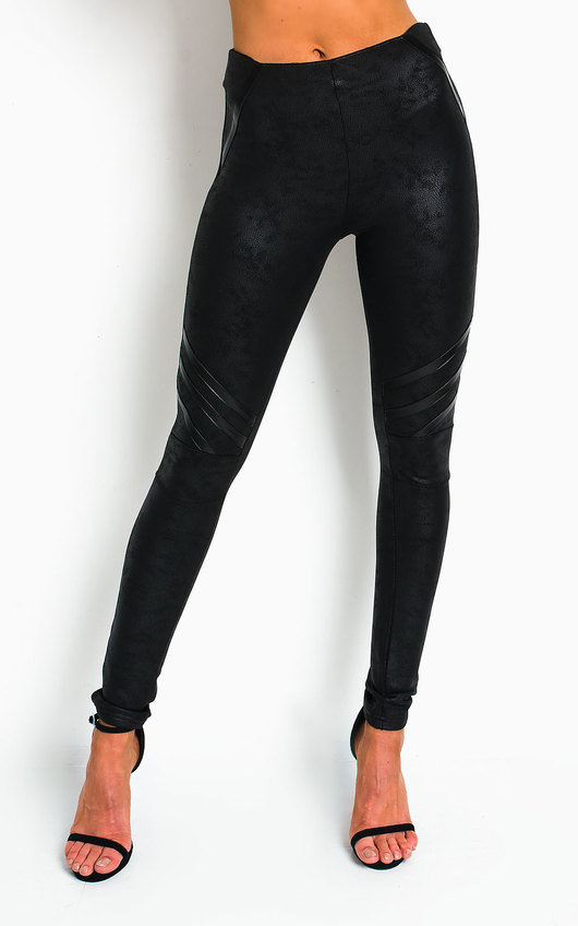 Orlagh Faux Leather Stripe Leggings
