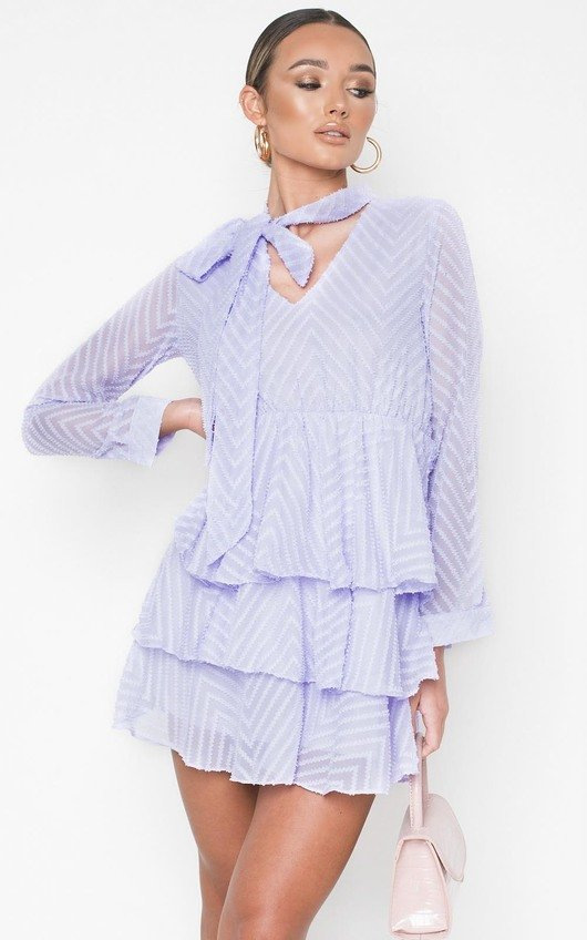 Paige Frill Embroidered Dress