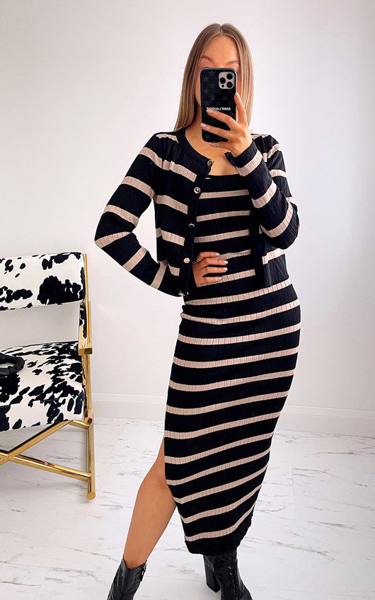 Pamela Cardigan and Skirt Co-ord with Stripe Detail