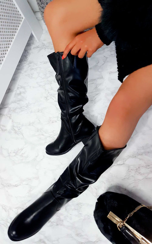 Pamela Faux Leather Gathered Boot
