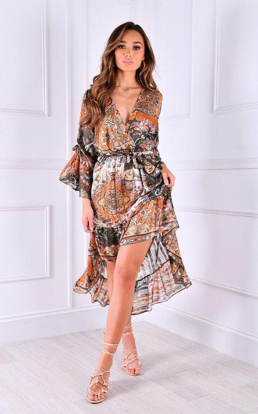 Pamela Printed Ruffle Design Midi Dress