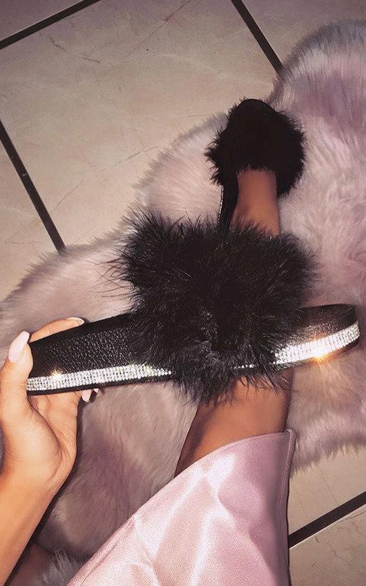 Paris Faux Fur Diamante Feather Sliders