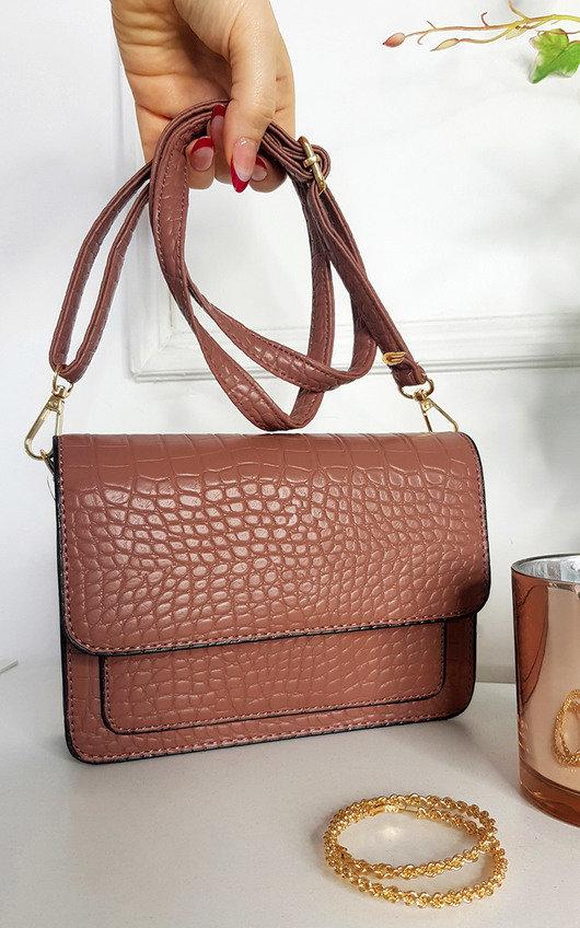 Paula Faux Leather Croc Print Shoulder Bag