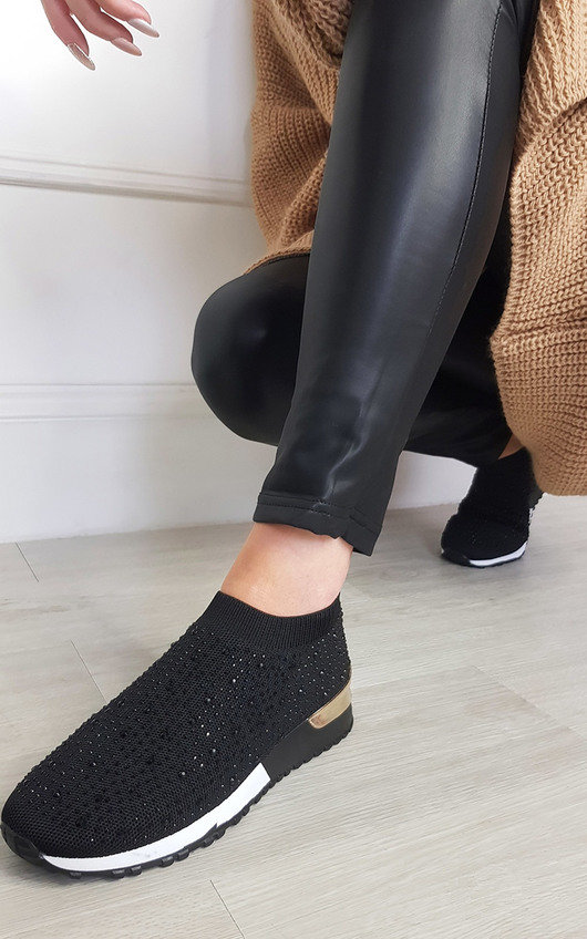 Pavla Diamante Slip On Sock Trainers
