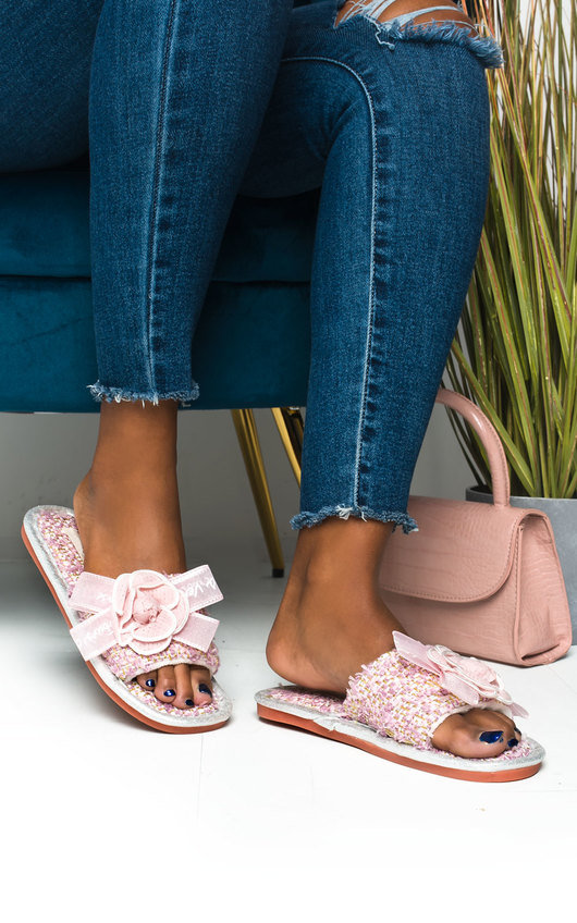 Peach Tweed  Slippers